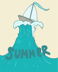Ship in sea (summer day) vector illustration hand drawn
