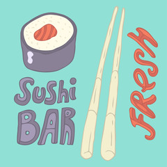 japanese food roll (sushi bar) vector illustration hand drawn