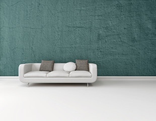 Interior background with a sofa ob a blue wall