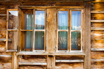 Wooden window in rural house