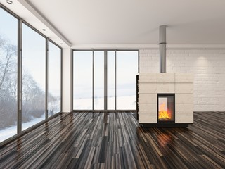 Empty living room interior with a fire and parquet