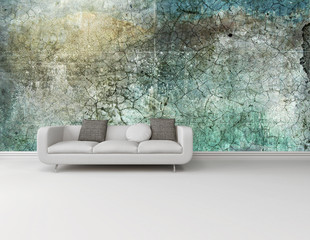 Weiße Couch vor grün grauer Grunge Style Wand