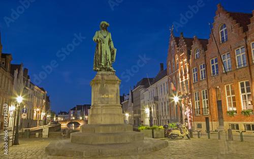 Leinwanddruck Bild Bruges - Jan van Eyck memorial