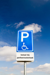Parking sign for disabled people