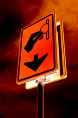 Surreal burning parking sign