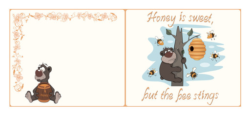 Bear and bees postcard cartoon