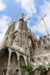 La Sagrada Familia, designed by Antoni Gaudi, in Barcelona.