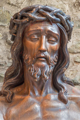 Bruges - Head of Jesus in Basilica of the Holy bold.