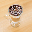Iced coffee with chocolate sauce on top