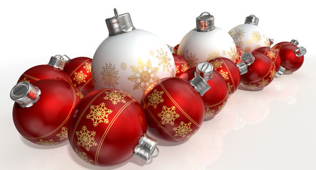 Ornate Matte White And Red Christmas Baubles