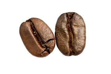 roasted coffee beans on white background. with shadow