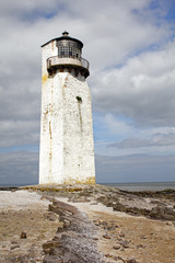 Southerness Lighthouse and Rock Formation Portrait Close Up