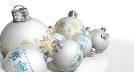 Ornate Matte White Christmas Baubles