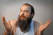 Bandaged Bearded Sad Man
