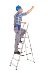 Repairman Climbing Step Ladder