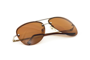 light brown Sunglass on white background