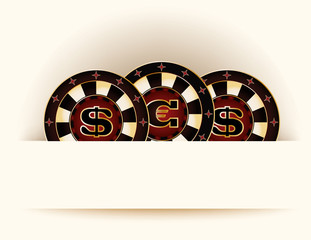 Casino background with poker chip vector