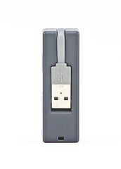usb plugs of card reader on white background