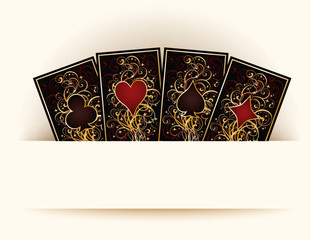 Casino background with poker cards