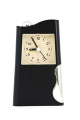 Old black clock on white background.