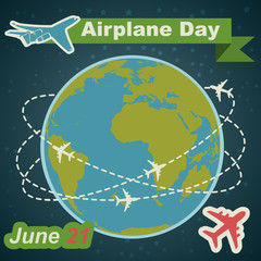 Aiplane day holiday poster in flat design