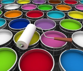 Open buckets with a paint and roller