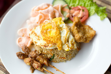 Nasi Goreng with prawn crackers and chicken satay