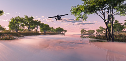 Airplane flying over misty lake at sunrise.