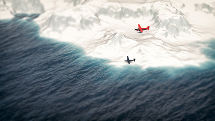 Red airplane flying over iceberg. Aerial shot.