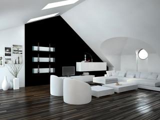 Modernes luxuriöses Wohnzimmer mit weißen Möbeln