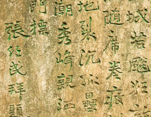 Ancient worn wall full of green chinese text