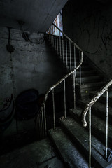 Horror staircase and hidden creepy hand