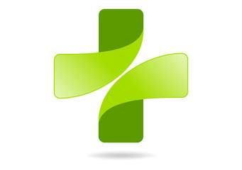 Logo Pharmacy, green medical vector