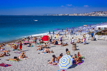 Nice, France, on July 4, 2011. Beach near Promenade d'Angles