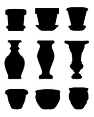 Black silhouettes of the jars and vases 3, vector