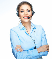 Call center smiling operator business portrait. White backgroun