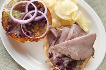 Roast beef sandwich on a bun