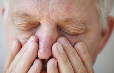 Sinus problems in senior man