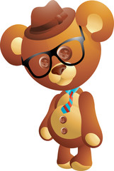 Cute hipster teddy bear