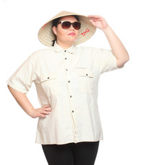 Plus size woman with sunglasses and bamboo hat.