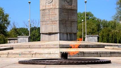 The eternal flame at the memorial at Kaliningrad