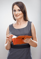 Purse, credit card. Business woman portrait.