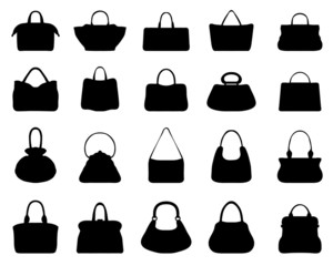 Big set of black silhouettes of handbags 2, vector