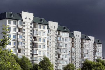 High rise white residential apartments