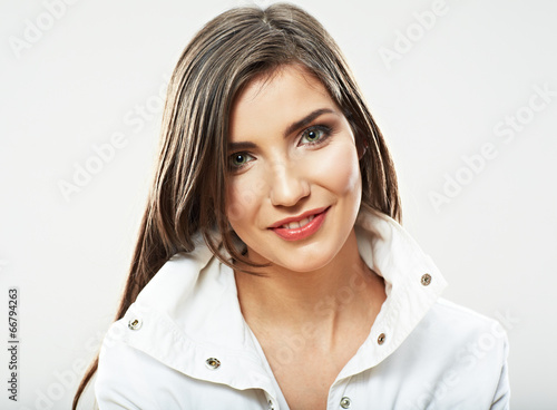 canvas print picture Beauty woman face close up portrait. Young female model poses.