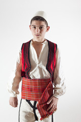 young boy in traditional albanian clothing
