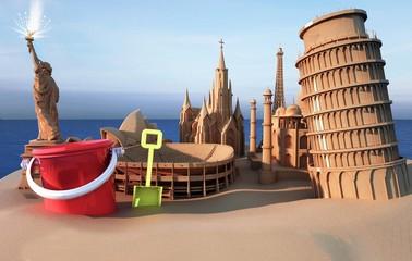 Monumentali castelli di sabbia 3d