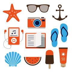 Summer Icons in Flat Design Style