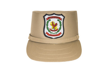 Police hat, against a white background.  Paraguay police officer