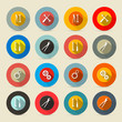 Retro Vector Tools Buttons - Icons Set